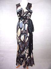 PRINCIPLES BLACK, BROWN & GREY CRUSHED SILK MAXI DRESS - UK SIZE 16