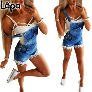 LAPA Damen Denim Latzjeans Shorts Latzhose Overall Jumpsuit Kurze Hose Hotpants