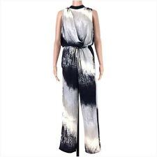 Charlie Jade Blue Multi Color Abstract Print Sleeveless Jumpsuit Size Small EUC
