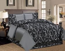 4PCs Damask Flock Complete Bedding Set Duvet Cover Bed sheet Double and King