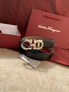 Salvatore Ferragamo belt pants size 3.5 cm silver buckle