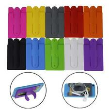 Silicone Stick Credit Card Holder Slot Stand Shell Case For Smart Phone Applied
