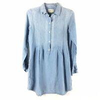 Denim & Supply Ralph Lauren Womens Chambray Shirt Dress Size S Blue Pockets