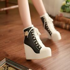 Womens Fashion Wedge High Heel Platform Lace Up Ankle Boot Shoes Plus Size Metal