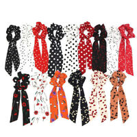 Women Bow Satin Long Ribbon Ponytail Scarf Hair Tie Scrunchies Sweet Hair Rope