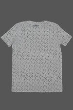 Branded   White  All Over Printed  Men's Round Neck T Shirt-M size