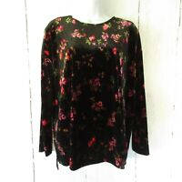 New J Jill Top Medium M Black Red Velvet Floral Long Sleeve