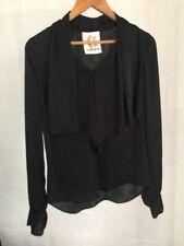 Vintage Charlie Brown Black Silky Dressy Blouse Top Size 8 Flowy Neckline