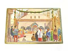 More details for antique vatican city scene art print with 11 vatican lire stamps on the back