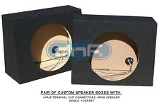 "1 PAIR 10"" MDF TRUCK ANGLE SEAL SPEAKER BOX (CARPET+TERMINAL CUPS+SPEAKER WIRE)"