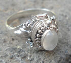 925 Sterling Silver-RP02 Balinese Poison Box Ring With Rainbow Moonstone Size 6