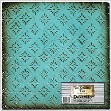 """Salvaged Tin Ceiling Tile 12""""X12""""-Bright Blue Rosette"""