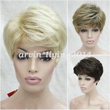 Ladies short curly Natural hair wig cosplay blonde brown black High quality