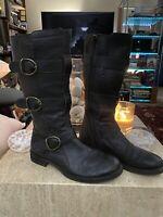 CORDANI WOMEN'S BOOT'S BLACK LEATHER ZIPPER CALF BOOTS Size 36.5
