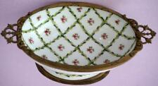 Antique Porcelain Comport Basket Bowl With Metal Trim
