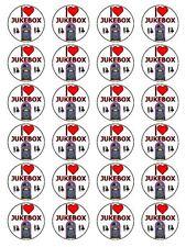 "x24 1.5"" I Love Jukebox 50s Music Player Birthday Cupcake Topper On Rice Paper"