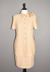 ST. JOHN NEW $1275 Beige 2 Piece Skirt Suit Blazer Santana Knit Size 12