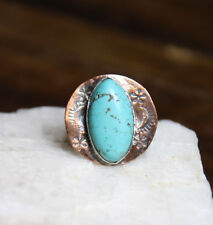 Sterling Silver & Copper Turquoise Gemstone Bezel handmade ring 5 Stamped Metal