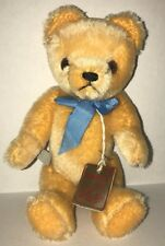 Grisly Mohair Teddy Bear 8.5 Inch Jointed Yellow Blue Bow NWT Mint 465/20