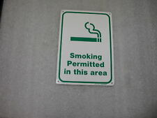 VINTAGE SMOKING PERMITTED IN THIS AREA ALUMINUM SIGN  7 X 10
