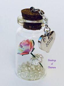 Miniature Gift Keepsake RAINBOW ROSE Friend Mum Sister Birthday You Choose Charm