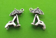 10X Beach Chair, Sun Umbrella 3D Tibetan Silver Charm Pendant Jewellery Making
