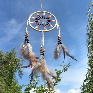New Traditional Design Beaded Beige Cream Dream Catcher Native American Mobile