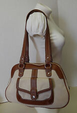 Stone Mountain Canvas & Beige Brown Leather Satchel Handbag Shoulder Bag Purse