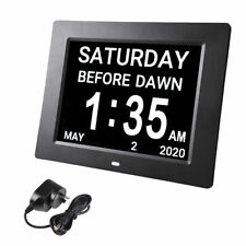 "8"" Digital Lcd Day Clock 8 Alarm Time Office Wall Dementia Week Date Calendar"