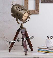 Antique Brass Fitting Wooden Table Desk Lamp Mini Designer Tripod Floor Lamp.#