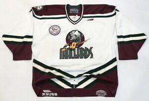 Vtg Bauer Authentic 1997 Quad City Mallards UHL Hockey Jersey Sz 54 Canada Sewn