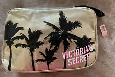 Victoria's Secret Beauty Travel Case Makeup Cosmetic Bag Palm Trees Gold New