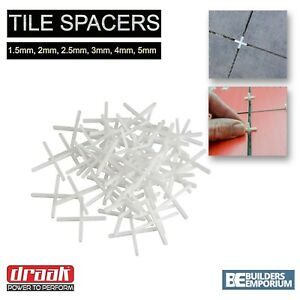 Tile Spacers Floor, Wall Tiling 1.5mm, 2mm, 2.5mm, 3mm, 4mm & 5mm GROUTING DRAAK