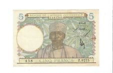 Afrique Occidentale - french west africa, 5 Francs, 1942