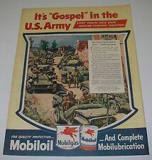 Print Ad 1945 Mobil MOBILOIL Mobilgas Art WW2 Gospel in U S Army Tank Convoy