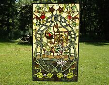 """20"""" x 34"""" Handcrafted Handcrafted stained glass window panel water lily Lotus"""