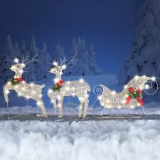 Elegant Lighted Reindeer & Santa's Sleigh Outdoor Christmas Yard Decoration