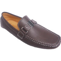 New Mens Casual Loafers Leather Designer Slip On Shoes Boat Deck Driving UK 6-11