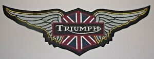 """Triumph Biker British Motorcycle Patch~12"""" x 4""""~Great for Jacket~Vest~Ships FREE"""