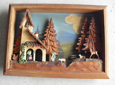 RARE Vintage Anri Wood Wall Diorama 3D Scene Boy Girl Trees Animal House LOOK