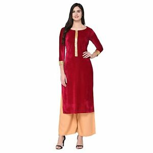 Women's Traditional Velvet A-Line Kurta With Sequence lace Work Size Up to 2XL.