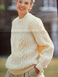 """Ladies Aran Jumper Size: 34""""-48"""" Knitting Pattern  L59"""