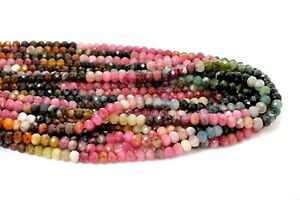 Natural AAA Rainbow Tourmaline Faceted Rondelle 4mm x 5mm Loose Gemstone Beads