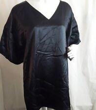 Drykorn Black V-Neck Kimono Sleeve 100% Silk Satin Dress Womens Size 2 D66