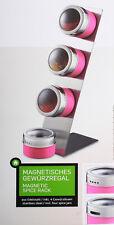 Magnetisches Gewürzregal 5-teilig Gewürzstreuer Gewürzdosen Edelstahl pink