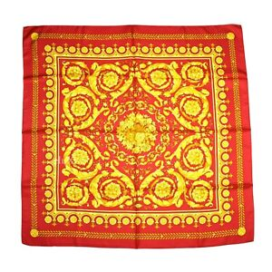 """NWT $395 Versace Barocco Baroque Floral Print 100% Silk Scarf Red 34"""" AUTHENTIC"""