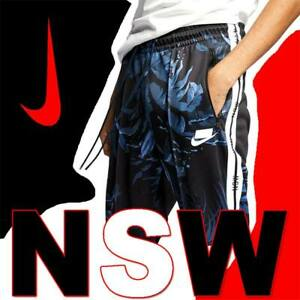 NIKE NSW TRACK PANTS BLANK LOGO BLACK TRACKSUIT DURABLE TAPED TROUSERS ZIP ANKLE
