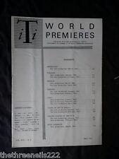 INTERNATIONAL THEATRE INSTITUTE WORLD PREMIER - MAY 1962 VOL 13 #8