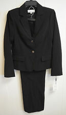 NWT Calvin Klein Women's Solid Black 2-Piece Career Pant Suit Set Size 2 $280