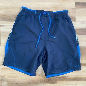 Nike Swim Trunks Blue Floral Lined Board Shorts Mens Large